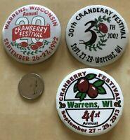 Lot of 3 Cranberry Festival Warrens Wisconsin Pinbacks Buttons #33988