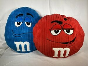 M&M World Original Red & Blue Character Plush Cushions Soft Toy Now discontinued