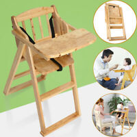 Wood Baby High Chair Infant Toddler Feeding Booster Folding Safe Portabable