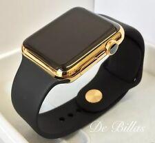 24k chapado en oro 42mm Apple Reloj Series 3 con Negro Sport Bandas GPS +