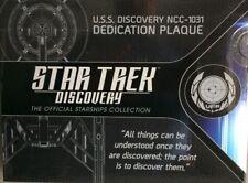 Descubrimiento de Star Trek U.S.S. Discovery. NCC-1031 placa dedicación placa de réplicas