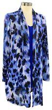 Susan Graver Size XS Women's Blue Printed Mesh Cardigan with Tank
