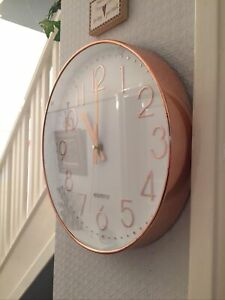 Large Round Wall Clock Pink Copper effect Baitu Quartz Working Good Condition