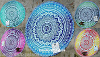 Indian Ombre Round Mandala Beach Throw Hippie Yoga Mat Bohemian Roundie Tapestry