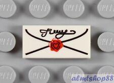 LEGO - 1x White Tile Mail Envelope 1x2  Love Letter Heart Post Harry Potter