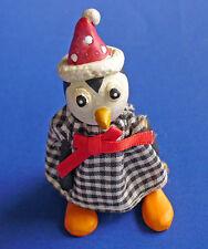 BUY1&GET1@50%~Russ FIGURINE Christmas PENGUIN Cute JOINTED in SANTA HAT Vtg