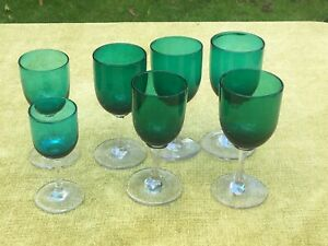 Antique Victorian Wine sherry glasses Green + clear stem base job lot mixed