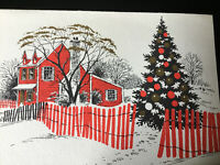 VTG Christmas Greeting Card Red Black Gold Embossed On Ornaments Tree Hampshire