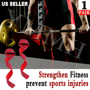1PAIR Weight Lifting Straps Wrist Wrap Power Training Heavy Duty Hand Support US