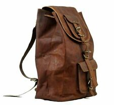 Men's New Handy Leather Backpack Hiking Laptop Messenger Rucksack Bag