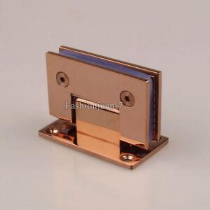 2PCS 304 Stainless Steel Shower Glass Door Hinge 90° Rose Gold Glass Fix Bracket