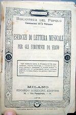 1878 MANUALE ESERCIZI DI LETTURA MUSICALE PER GLI STRUMENTI A FIATO SONZOGNO
