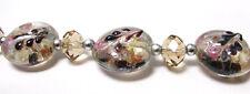 Flower Beads Lampwork Glass Beads Light Brown Flat Round 20mm 5 pcs
