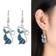 Women Fashion Elegant Gift Jewelry Opal Cat Earrings Hook Ear Stud Drop Dangle