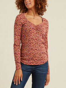 New FAT FACE Gorgeous Blush Casey Brushstroke Floral Top 10 16 RRP £35