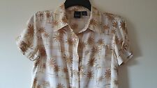 Women's BASIC EDITIONS S Rayon Hawaiian Palm Tree Short Sleeve Multicolor
