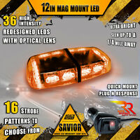 36 LED Light Bar Top Beacon Magnetic Hazard Roof Emergency Strobe Amber Yellow A