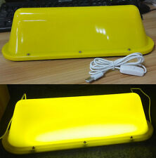 USB 12 LED Blank Taxi Cab Sign DIY Roof Top Car Super Bright Light Yellow Uber