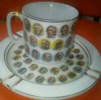 1966 Chadwick Miller U S Presidents Porcelain Ashtray & Mug gold accents Japan