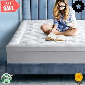 (Hot) EDILLY King Mattress Topper,Extra Thick Mattress Cover Pad Pillow Top Bed