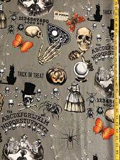 Séance Grey Alexander Henry Fabric Skulls, halloween, Ouija, witch, pumpkin