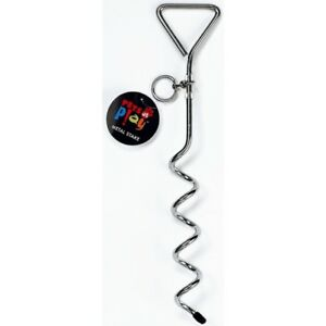 DOG METAL STEEL GARDEN GROUND TIE OUT TETHER SCREW STAKE SPIKE POST CAMPING HOOK