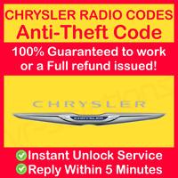 CHRYSLER RADIO CODE Unlock 200 300C 300M Aspen Crossfire Neon Pacifica Sebring