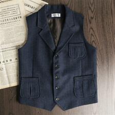 Men Tweed Waistcoat Retro Herringbone Vest Wool Blend Lapel Gilet Suit Top Retro