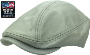 Made in USA 100% Genuine Leather Ascot Newsboy Ivy Hat Cap Gatsby