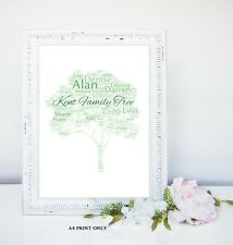 PERSONALISED FAMILY TREE WORD ART GIFT  KEEPSAKE A4 SIZE UNIQUE MEMORIES