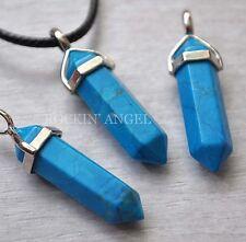Blue Turquoise Pendulum Prism Pendant Necklace Reiki Healing Ladies Gift Stone