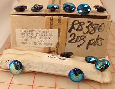 144 vintage faceted Czech glass buttons iridescent blue purple jet AB 17.5mm 380