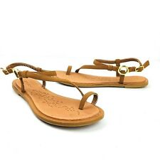 Bamboo Womens Sandals Strappy Brown Shoes Buckle Ankle Toe Gold Hardware Size 9