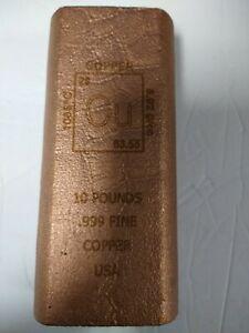 10 POUND COPPER BAR HUGE 10 LB- SCRATCH & DENT FACTORY NEW- .999 COPPER-sale