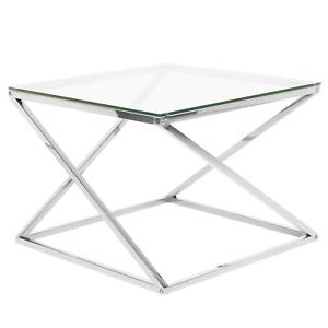 Beliani Tavolino in Vetro Color Argento Crystal