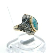 NEW Oxidized Sterling Silver/Bronze Bora Stamped Turkish ring Turquoise size 7