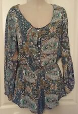 SIZE 10 WOMEN'S BLUE LONG SLEEVE PAISLEY PRINT 'NUNUI' PLAY SUIT / JUMP SUIT