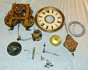 Antique Wm. L Gilbert Brass 6 1/2 Kitchen Clock Movement, Alarm, Gong & More