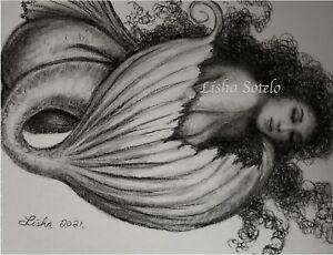 Original Nude Mermaid Pencils/Charcoal Drawing By Lisha Sotelo lishasdreams