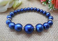 BRACELET, NAVY BLUE GLASS PEARLS WITH RHINESTONE SPACERS - 6553