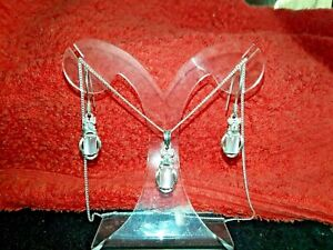 MOONSTONE -CATS-EYE - EARRINGS AND PENDANT SET IN SILVER