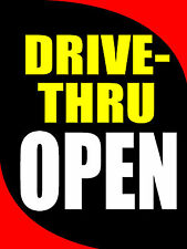 """Drive-Thru Open Business Retail Display Sign, 18""""w x 24""""h, Full Color"""