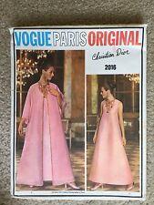 Vintage 1960's Vogue Paris Original DIOR Dress Coat Sewing Pattern #2016