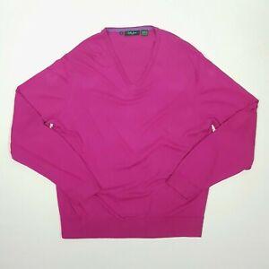 BOBBY JONES Mens V-Neck Jumper L Pink Long Sleeve Peruvian Cotton Golf Smart