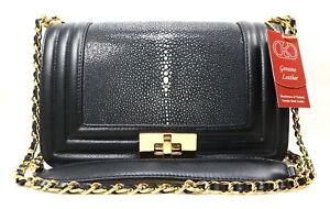Authentic Polished Stingray Leather Women's Handbag Shoulder Bag Boy Shiny Black