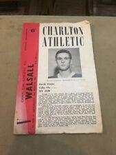 CHARLTON ATHLETIC V WALSALL 10 MAR 62 DIV 2PROGRAMME K1