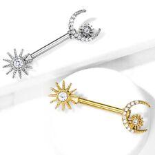 """SUN/MOON/STAR NIPPLE RING BARBELLS SURGICAL STEEL PIERCINGS (14G 9/16"""")"""