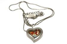 DISNEY HEART LOCKET SILVER NECKLACE FLOATING LITTLE MERMAID CROWN LOVE CHARM