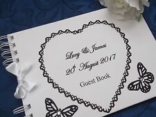 PERSONALISED HEART WEDDING GUEST BOOK BUTTERFLY DESIGN ENGAGEMENT/ANNIVERSARY