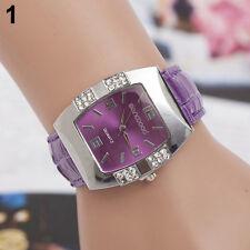 Women's Rhinestone Barrel Case Faux Leather Band Analog Quartz Wrist Watch Z23